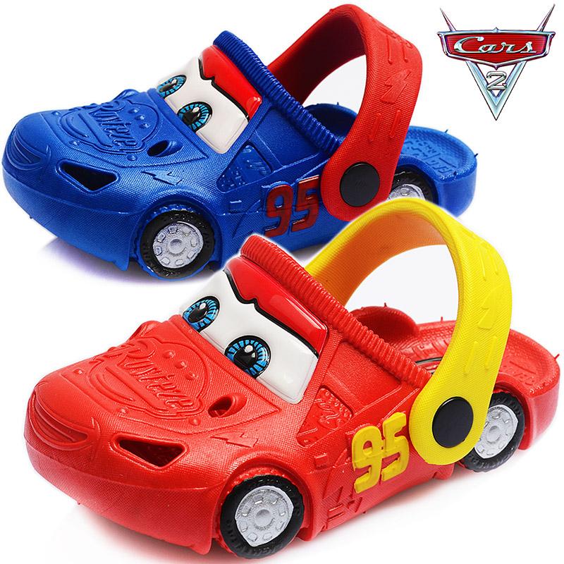 迪士尼汽车儿童洞洞鞋宝宝凉拖鞋小孩拖鞋包头男童沙滩鞋防滑夏季(非品牌)