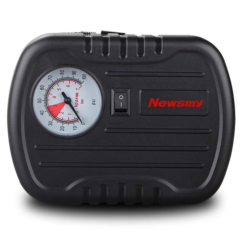 紐曼汽車用充氣泵12V便攜式車載充氣打氣泵輪胎胎壓計補胎包迷你