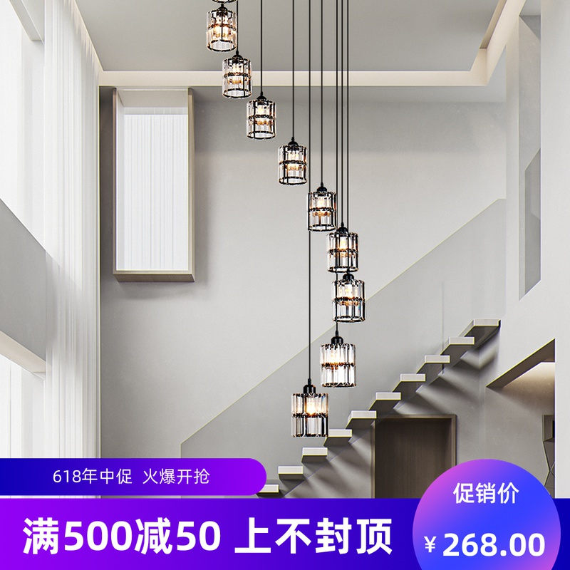 Double revolving staircase long chandelier American simple villa living room dining room leap floor hollow luxury crystal chandelier