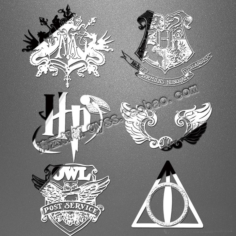 哈利波特Harry Potter周边霍格沃茨四大学院死亡圣器猫头鹰金属贴