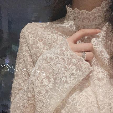 秋冬新款洋气小衫女半高领刺绣花精致内搭蕾丝衫仙女网纱打底上衣