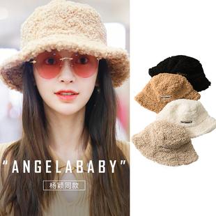 羊羔毛渔夫帽女士baby热巴明星同款 新款 秋冬季 盆帽护耳帽 帽子男款