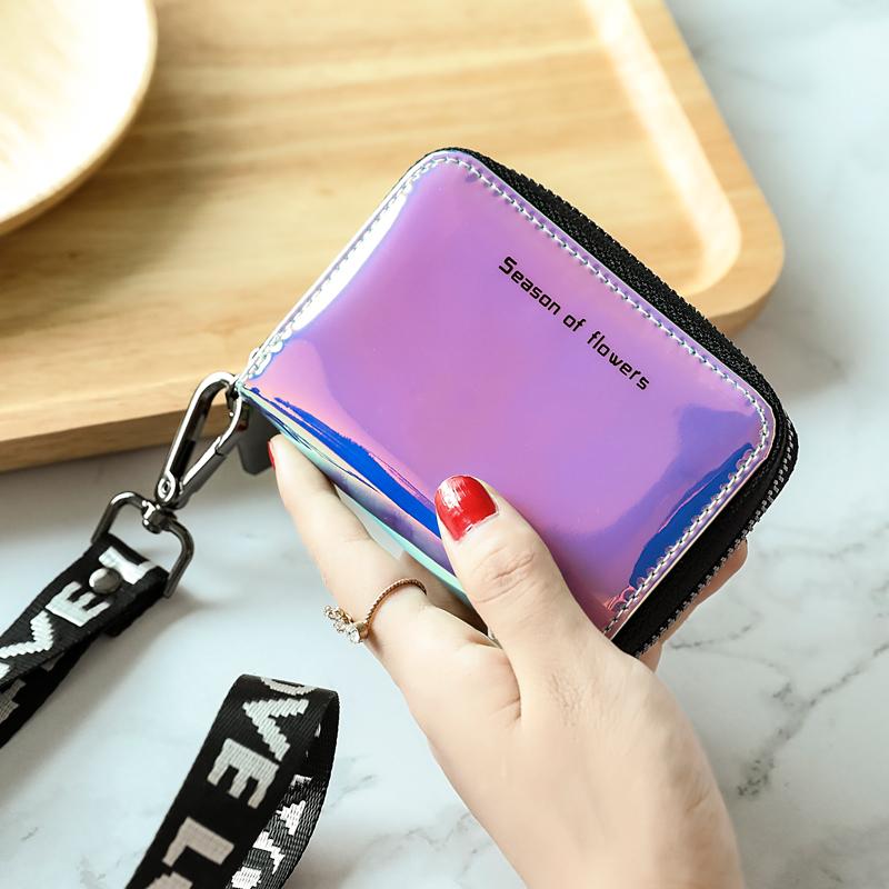 米印镭射挂脖卡包女式韩国可爱个性迷你小巧大容量证件位卡片包