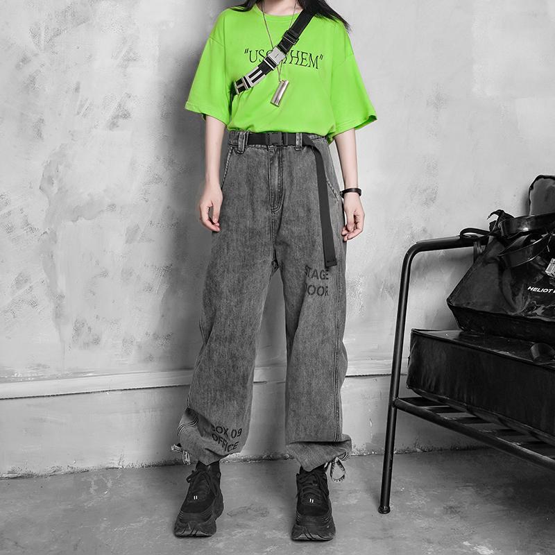 11-09新券小雨家潮酷的直筒or束脚的洗水灰超长插扣机能阔腿裤工装裤牛仔裤