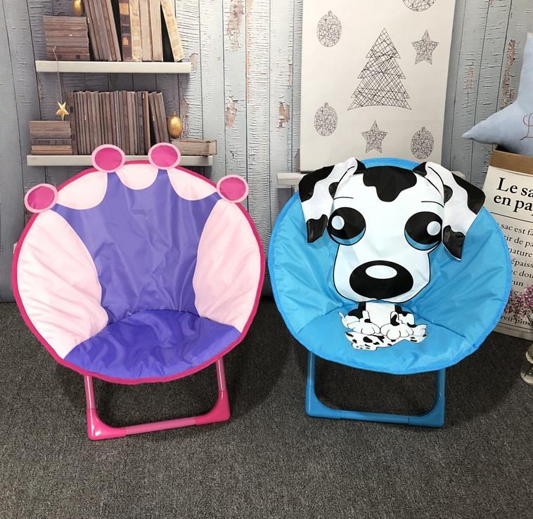 儿童月亮椅卡通小凳子宝宝餐椅折叠靠背椅便携户外沙滩椅幼儿园椅
