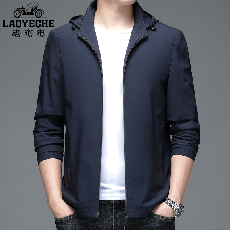 Old car spring and autumn new mens coat detachable hooded jacket mens middle age jacket mens fathers