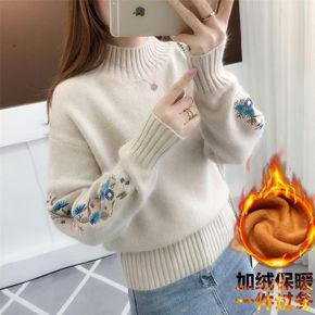 秋冬季女装新款2020爆款半高领纯色毛衣韩版短款绣花袖针织打底衫