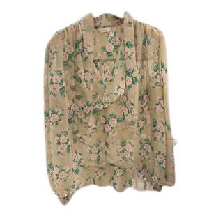 韓國東大門2020秋季女裝新款清新小碎花上衣寬鬆雪紡百搭長袖襯衫