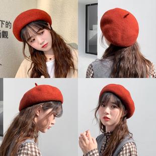 秋冬帽子女冬季羊毛贝雷帽女英伦复古韩版日系百搭蓓蕾帽八角帽潮品牌