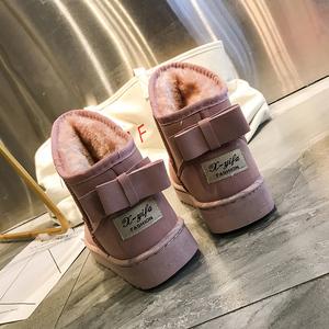 2019新款雪地靴女冬季一腳蹬平底時尚短靴面包冬鞋短筒加絨厚棉鞋