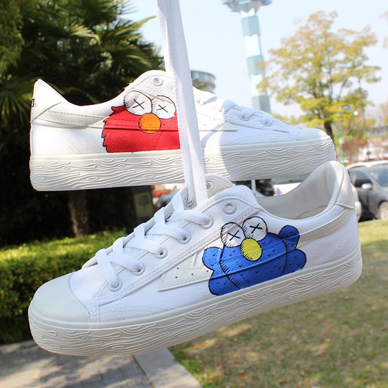 正品保证回力芝麻街联名款帆布鞋子手绘涂鸦爆改ow樱花鸳鸯鞋男女桃子熟了