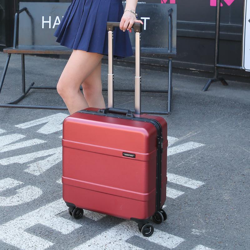 18寸迷你登机箱16小行李箱万向轮拉杆箱铝框旅行箱女韩版密码箱子