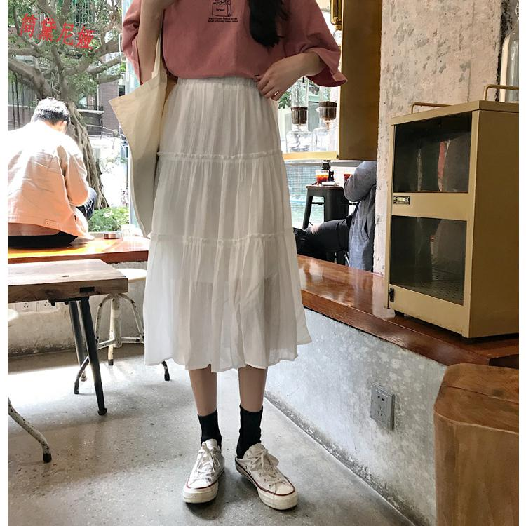 2019款春装韩版气质chic中长款显瘦松紧腰褶邹蛋糕裙a字半身裙女