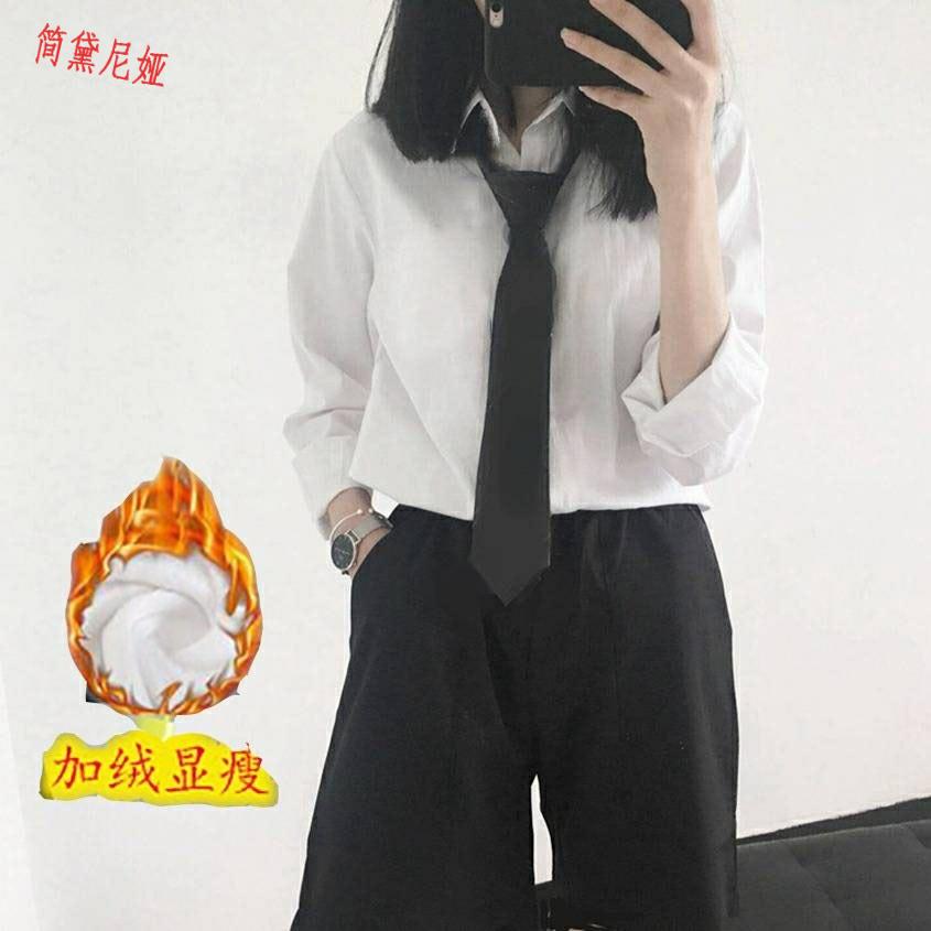 白衬衫女带领带学院风 帅气秋冬新款日系衬衣学生制服西装领百搭