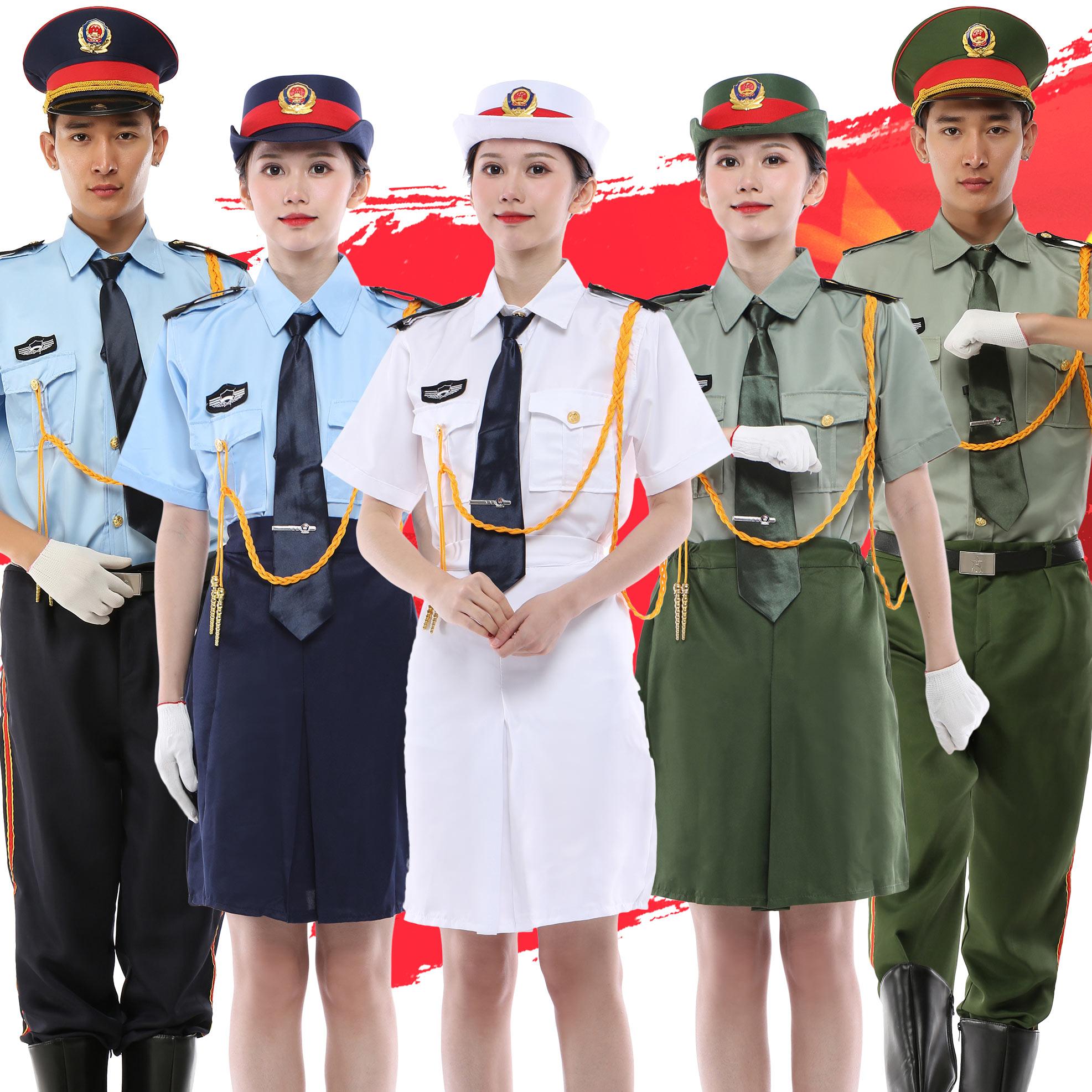 新款中小学生升旗手服装国旗班仪仗队军乐队演出服短袖裙子装夏装