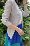 19年新款 无扣开衫 薄款 空调女上衣褶皱ol通勤 三宅夏季 短外套长袖