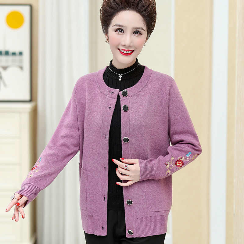 High grade brand middle-aged and elderly knitted coat womens 2021 autumn new cardigan long sleeve embroidered versatile coat mothers dress