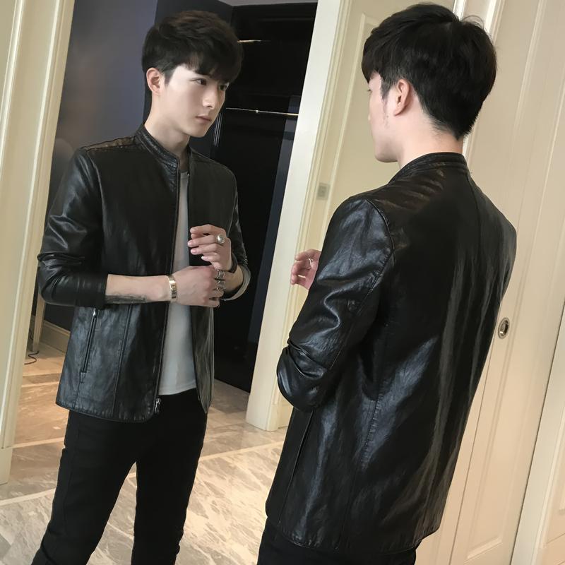 2018春季新款男士皮衣外套韩版修身潮流帅气春秋薄款机车PU皮夹克