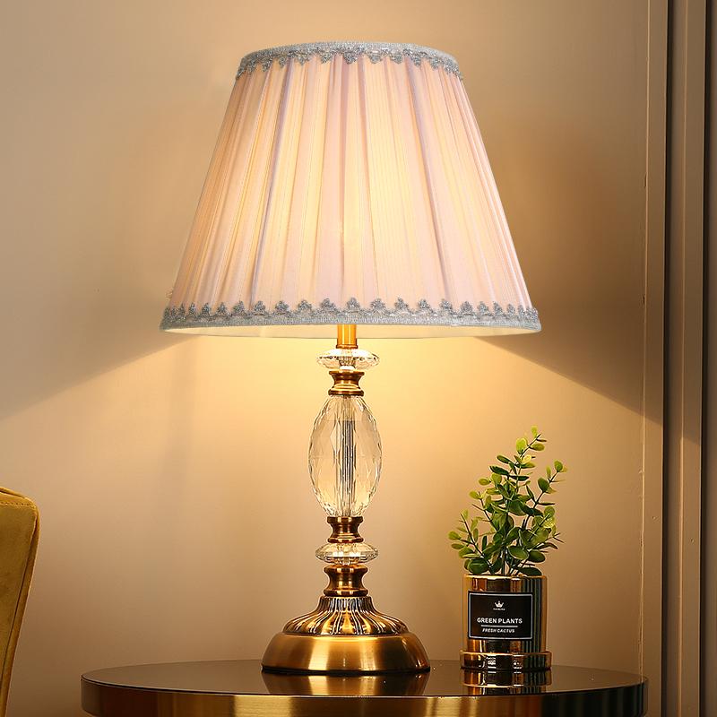 小台灯卧室欧式水晶台灯简约遥控温馨床头灯布艺客厅轻奢台灯北欧