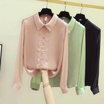 2020早秋新款长袖雪纺衫女蕾丝拼接衬衫钉珠气质上衣淑女洋气小衫