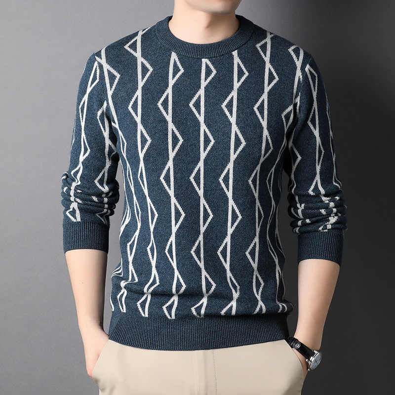 Counter brand wool sweater autumn and winter new mens Pullover long sleeve sweater mens round neck knitted bottomed sweater 3178