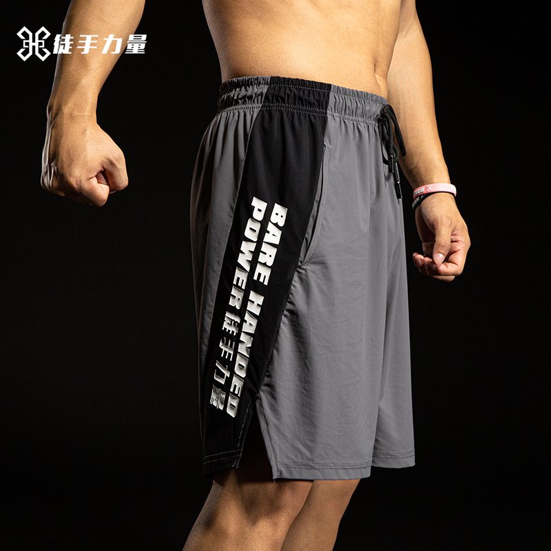 Unarmed strength sports shorts mens running fitness trend casual five point loose training medium Pants Large basketball pants
