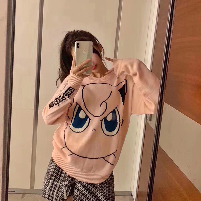 Lazy wind pink sweater female autumn winter loose Korean lovely pattern net red pullover student T-Shirt Top
