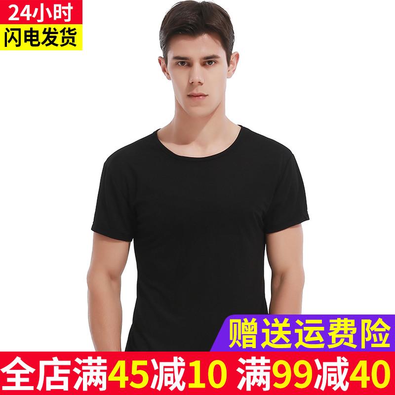 Short sleeve t-shirt mens summer new pure color linen cotton elastic bottomed shirt mens fashion round neck sports T-shirt half sleeve