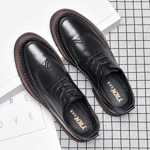 休闲皮鞋男春季潮鞋子英伦男士布洛克男鞋子韩版软底青少年小皮鞋