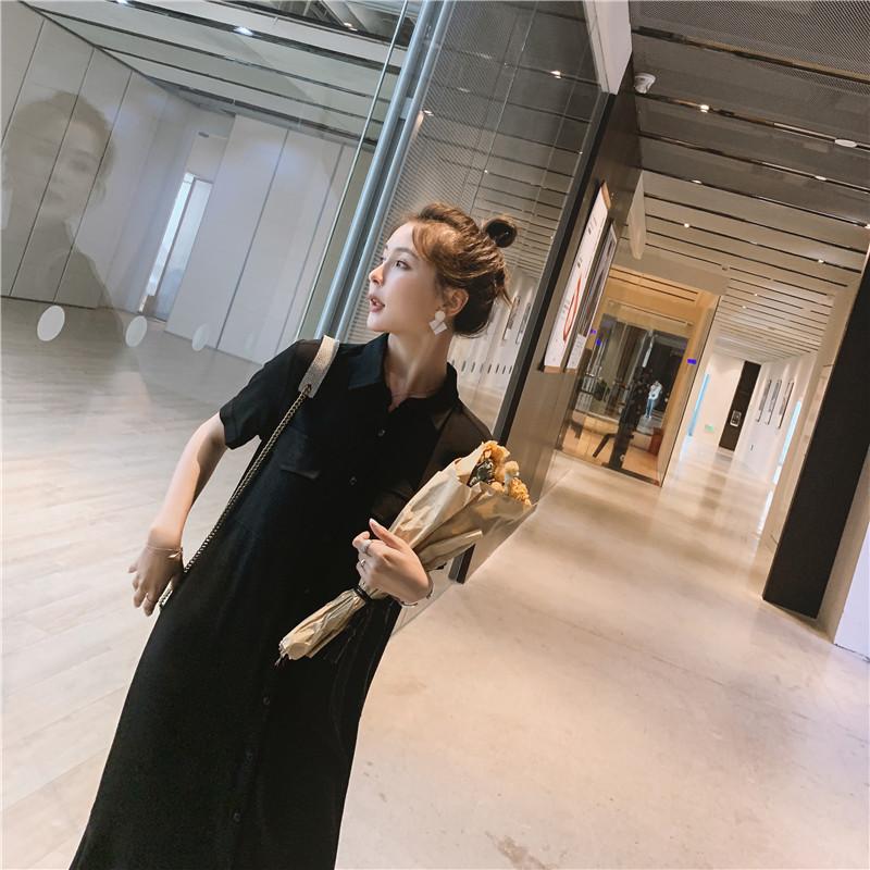 大货现货 法式衬衫鱼尾连衣裙(送腰带)8519/878/P85控148