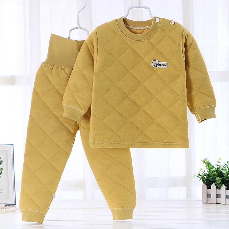 宝宝保暖衣套装纯棉内里婴儿加棉高腰裤套装儿童保暖内衣男童加厚