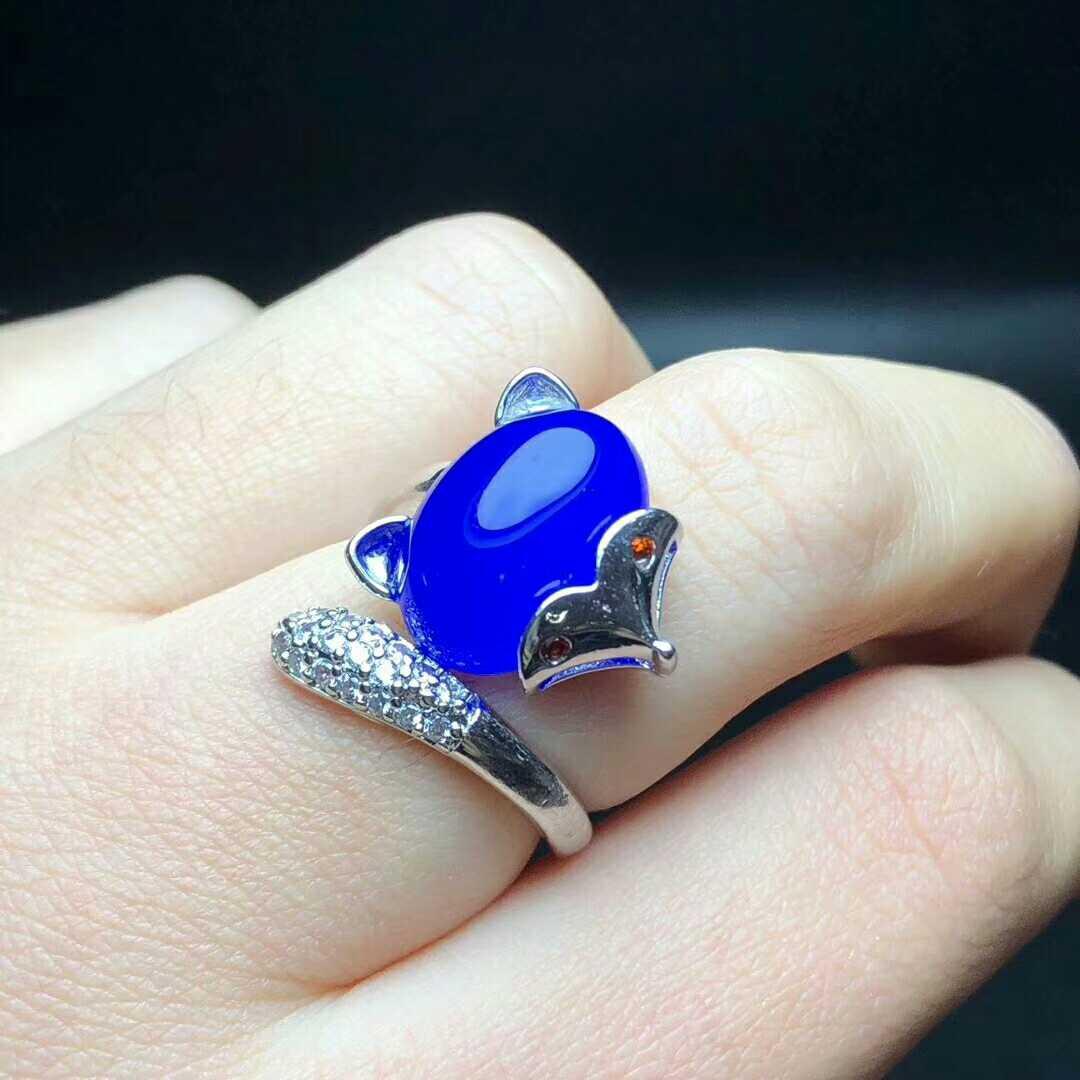 真品 冰种蓝玉髓戒指女玛瑙指环 翡翠色狐仙首饰 925纯银镶蓝宝石
