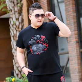夏季大码男装短袖t恤宽松纯棉胖子肥佬潮牌加肥加大半截袖男上衣图片