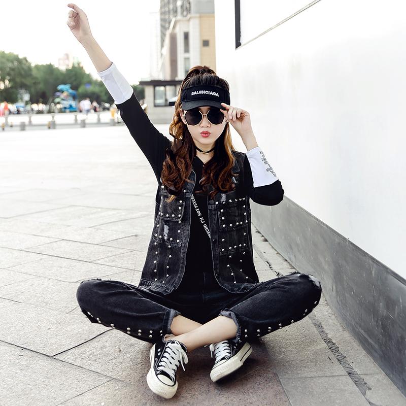 2019初秋新款休闲运动套装牛仔裤+上衣两件套时尚宽松洋气欧洲站(非品牌)