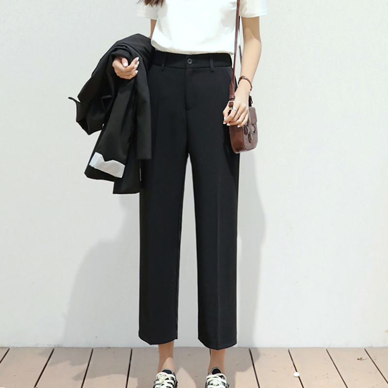 Wide leg pants womens summer high waist loose straight tube drape feeling black casual slim womens pants cropped suit pants thin