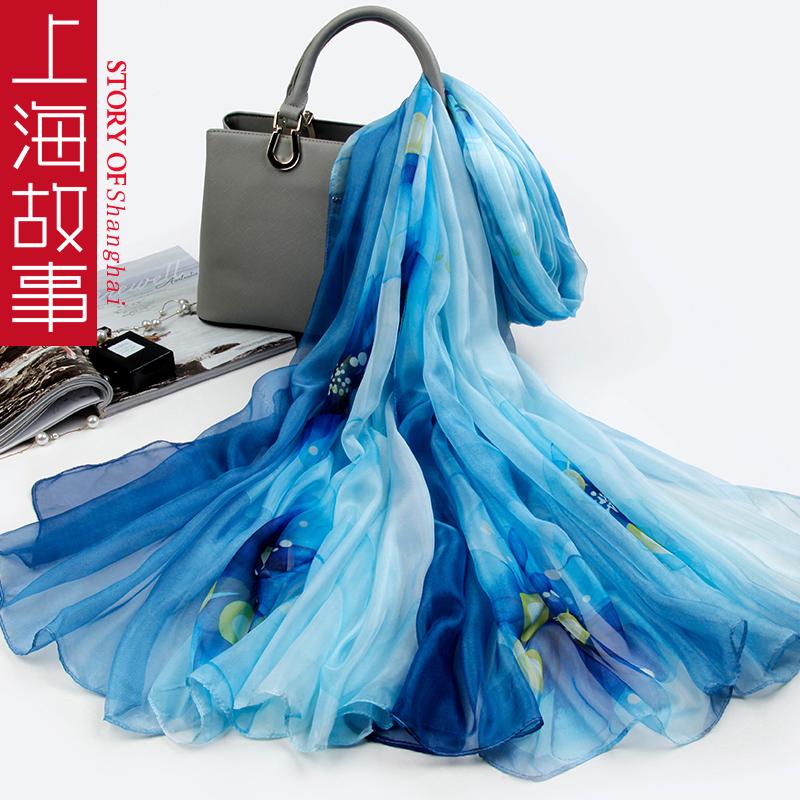 满399.00元可用360元优惠券上海故事女士2019好新款孔雀蓝纱巾