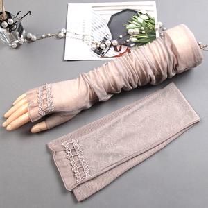 防晒手套女冰丝手袖开车袖套蕾丝护臂袖子套夏天防嗮手臂胳膊冰袖