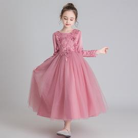 小花童礼服女童婚纱长袖公主裙钢琴演出服秋冬儿童高端洋气连衣裙