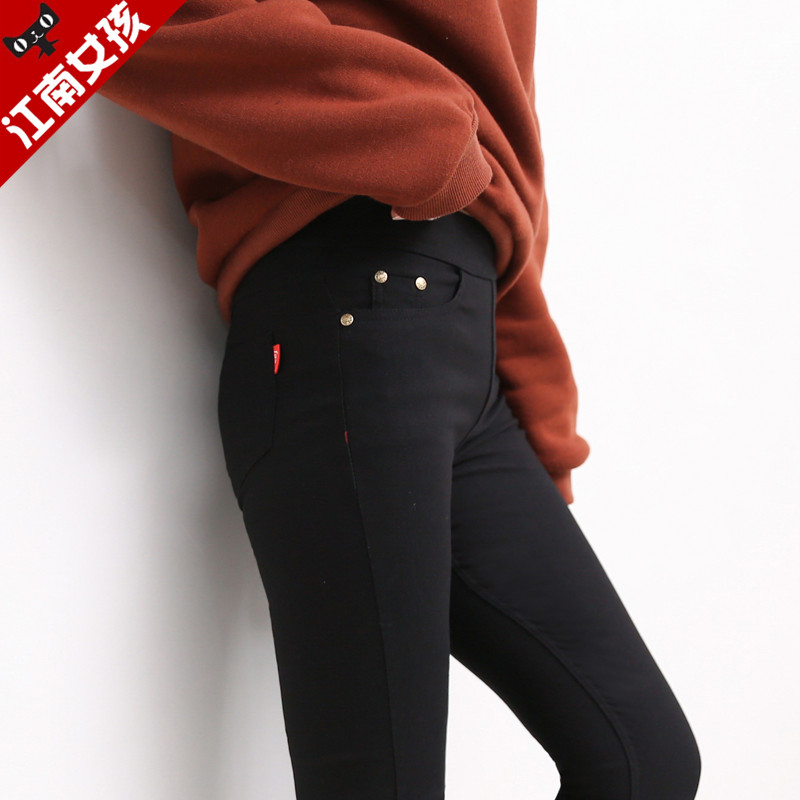 江南女孩高腰打底裤外穿加绒魔术裤长裤黑色裤子铅笔九分女裤秋冬图片