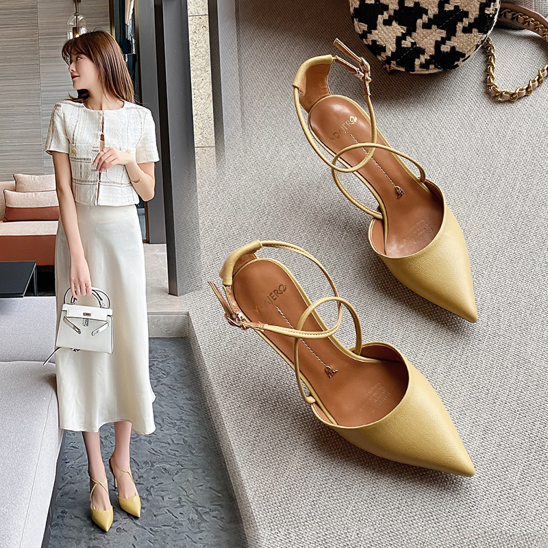 Baotou sandals, fairy wind, thin heels, summer 2020, new all-around small CK, pointed head, spring style, one word high heels