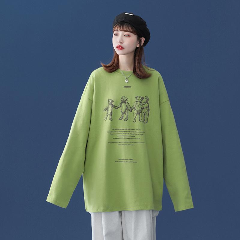 216-2-CT22-P30 秋装韩版创意卡通宽松圆领长袖T恤 中性