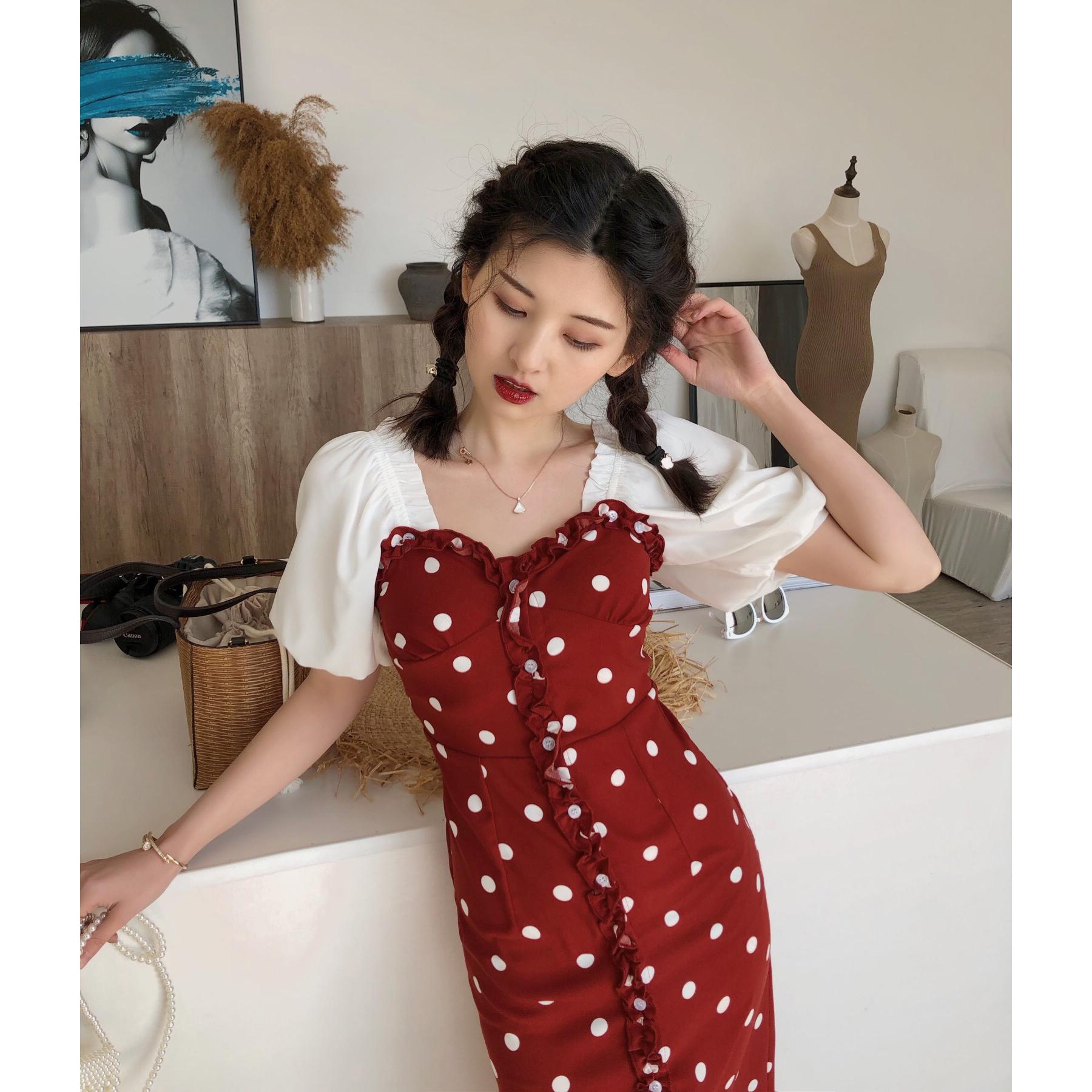 DAC复古波点印花吊带连衣裙修身显瘦2020春夏新款性感中长款裙子