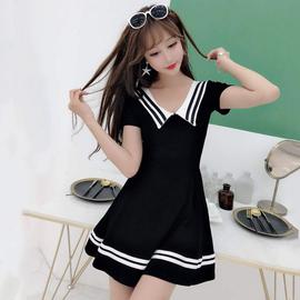 2020夏季海军风清纯连衣裙可爱小个子减龄显瘦技师服甜美气质裙子