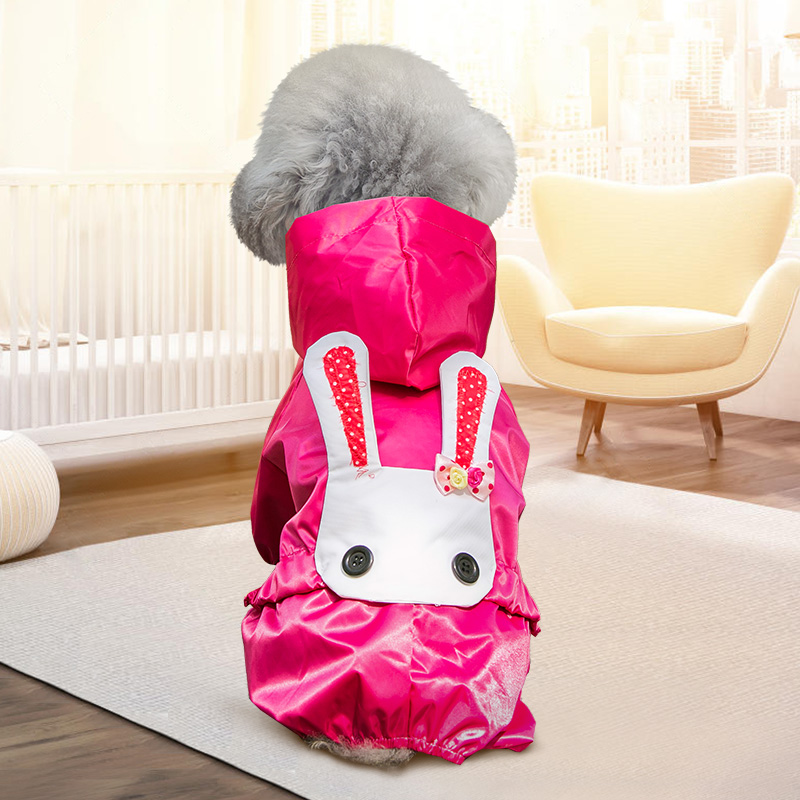 Dog raincoat, pet rainproof and waterproof clothing, four legged teddy bear, four legged cartoon clothes, washable and mailed