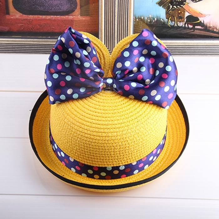 儿童草帽夏天女童公主凉帽小孩遮阳帽子米奇帽可爱宝宝卷边太阳帽