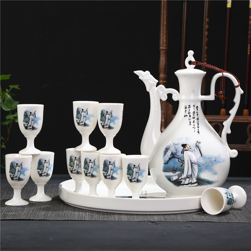 Ceramic wine set, blue and white porcelain wine pot, Chinese liquor cup, goblet, white wine cup, clear wine set, household use