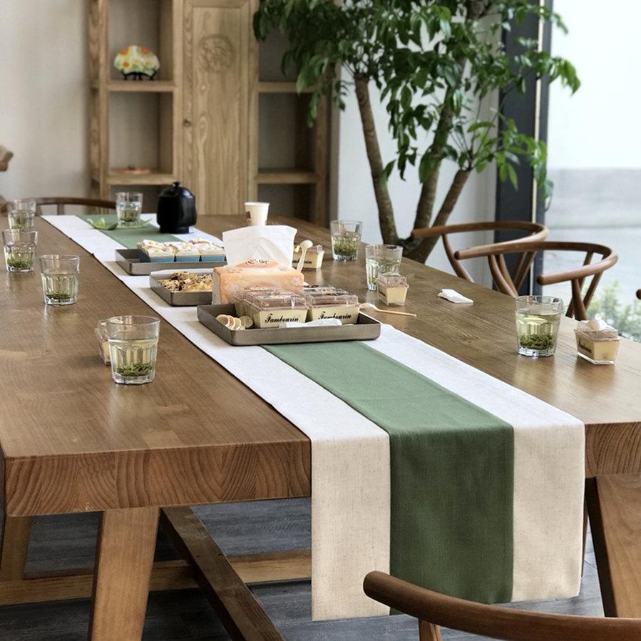 绿色新中式桌旗茶艺简约日式泡茶几