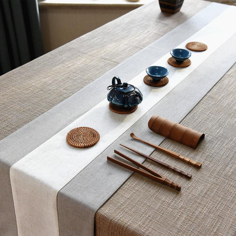 中式禅意日式茶旗复古棉麻布艺茶席