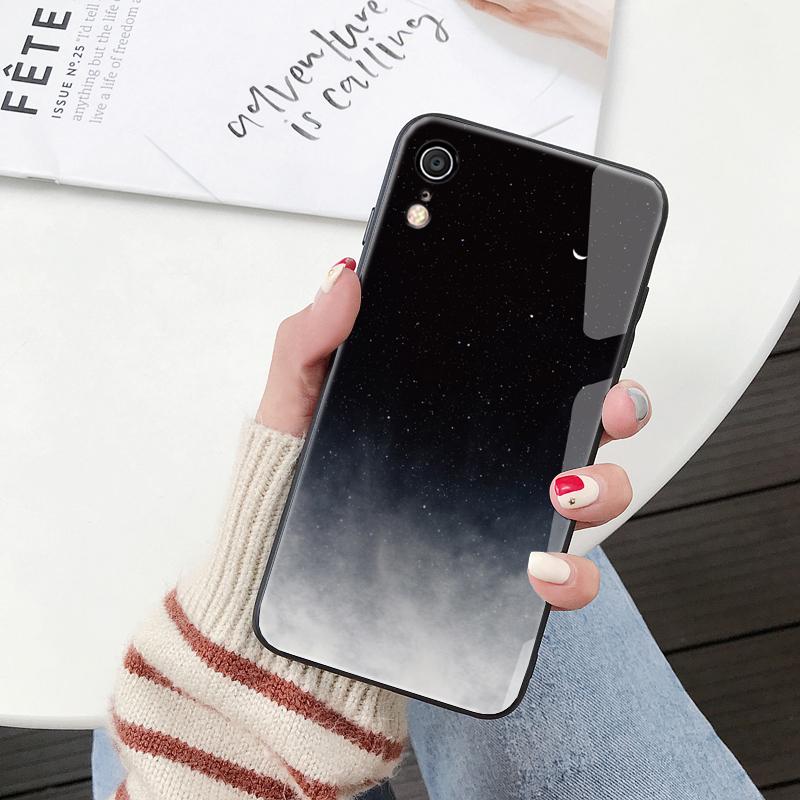 iphonexr手机壳xs max苹果x玻璃套xs个性创意iphone男女款xr冷淡风钢化镜面ipone简约ins风网红超火抖音欧美
