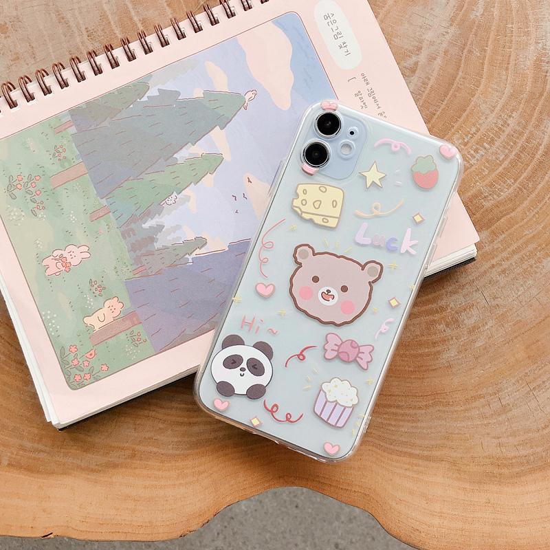 熊猫小熊卡通可爱11Pro/Max苹果12mini/X/XS/XR/SE2/6s手机壳iPhone7p女8plus透明全包摄像头个性创意日韩